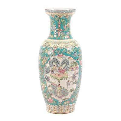 Chinese Ceramic Pictorial Floor Vase