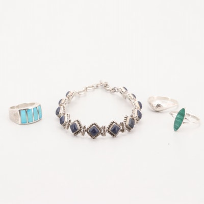 Sterling Silver Lapis Lazuli Bracelet and Rings with Malachite and Turquoise