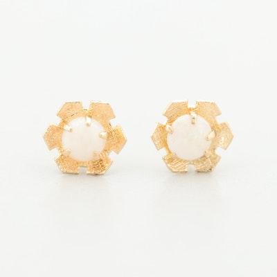 14K Yellow Gold Opal Stud Earrings
