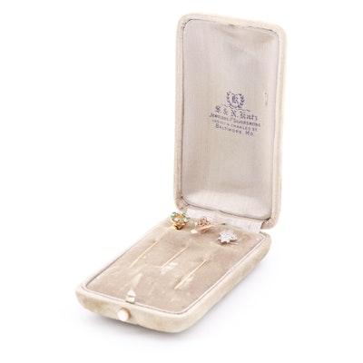 Circa 1900s, Edwardian and Victorian Gemstone Stick Pins in Case