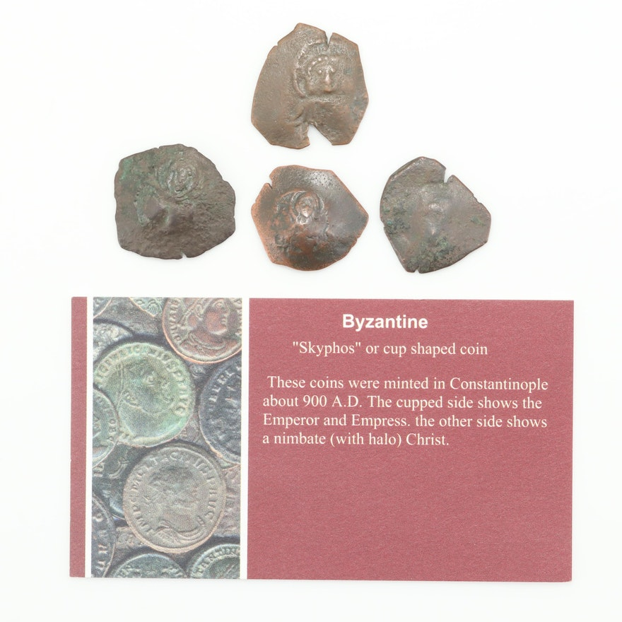Four Small Ancient Byzantine Scyphate/Trachy Coins, ca. 900-1100 A.D.