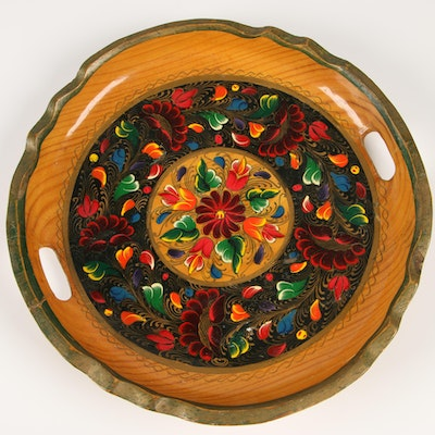 Mexican Hand-Painted Wood Tray