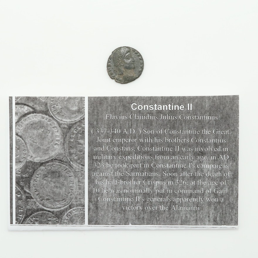 Ancient Roman Imperial AE4 Commemorative Coin of Constantine II, ca. 337 A.D.