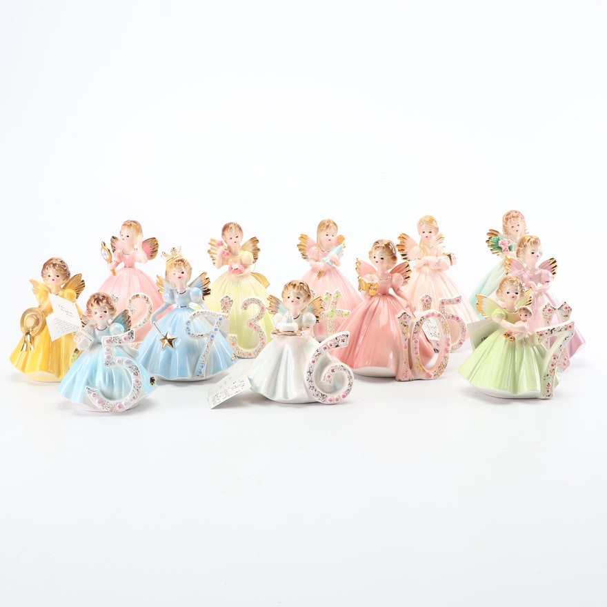 "Josef Originals ""Birthday Angel"" Ceramic Figurines"