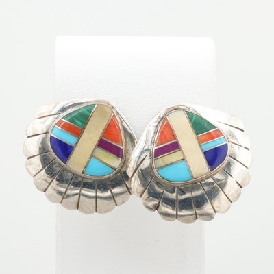 Southwestern Style Sterling Silver Imitation Gemstone Inlay Earrings