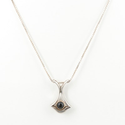 Sterling Silver Black Onyx Pendant Necklace with Gold Wash Accents