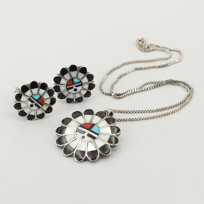 Southwestern Style Sterling Turquoise, Mother of Pearl, and Coral Jewelry Set