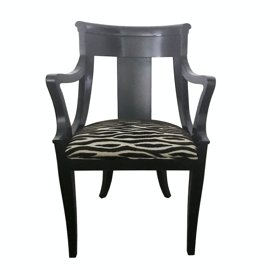 Baker Regency Style Lacquered Armchair