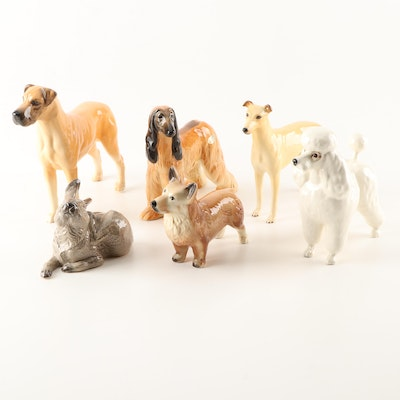 Five Ceramic Dog and a Bunny Figurines