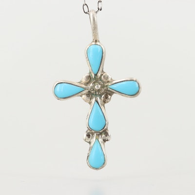 Southwestern Style Sterling Silver Imitation Turquoise Cross Pendant Necklace