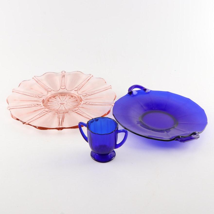 Colored Pressed Glass Decorative Serveware