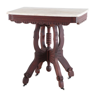 Eastlake Style Victorian Walnut and Marble Side Table, Late 19th Century