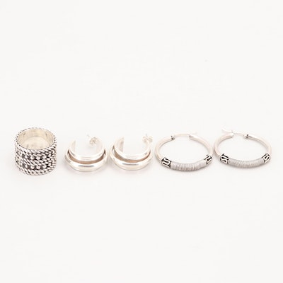 Sterling Silver Earrings and Ring