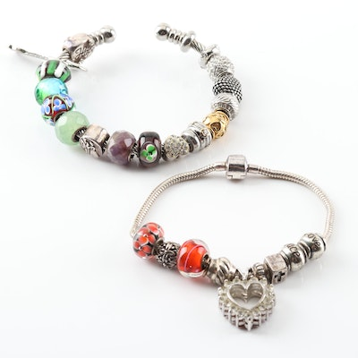 Sterling Silver Charm Bracelets With Glass Beads