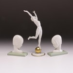 Karl Tutter Hutschenreuther Porcelain Figurine and Lenox China Bookends