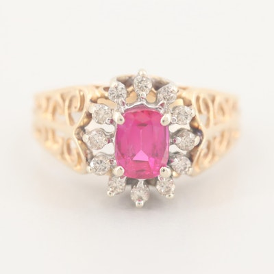 14K Yellow Gold Synthetic Ruby Ring with Diamond Halo