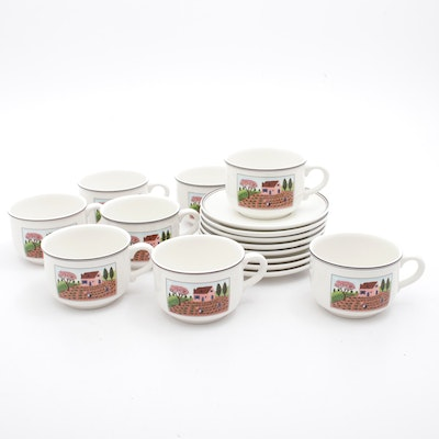 """Villeroy & Boch """"Design Naif"""" Pattern Mug and Saucer, Setting for Eight"""