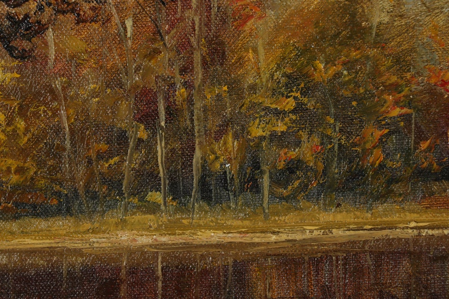 """Garncarek Aleksander Oil Painting """"Li´scie Na Wodzie"""""""