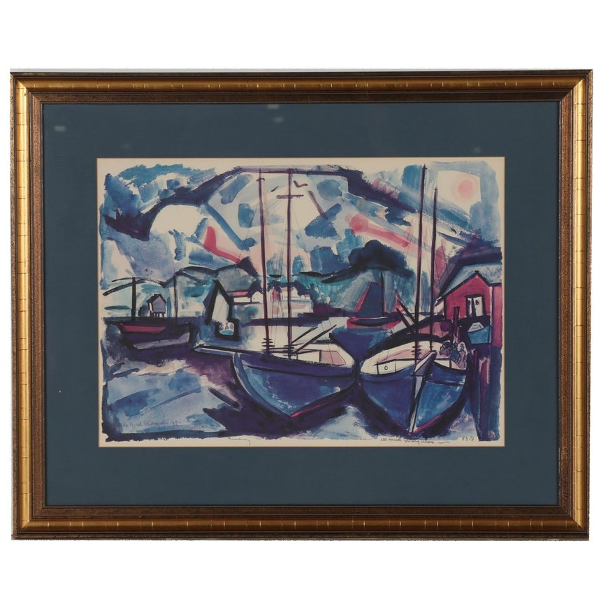 De Hirsh Margules Collotype of Harbor Scene
