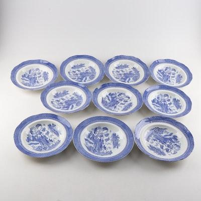 """Cauldon """"Blue Willow"""" Coupe Soup Bowls"""