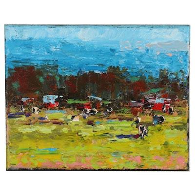 Sam Raines Farm Landscape with Cows Acrylic Painting