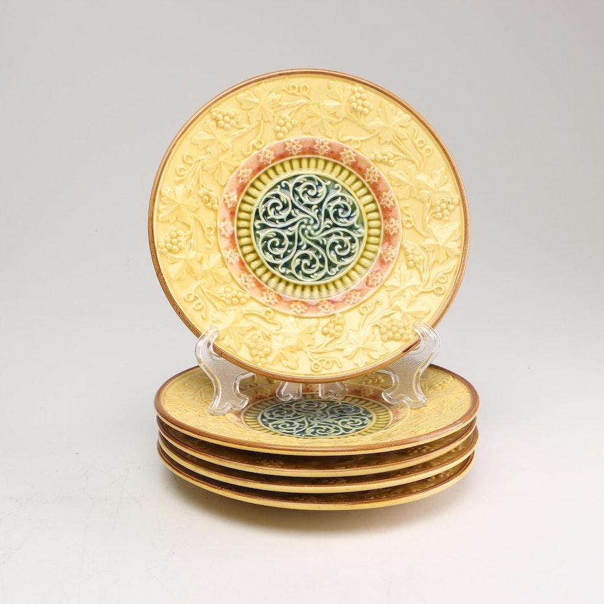 United Zell Ceramic Factories Art Nouveau Majolica Plates, circa 1920