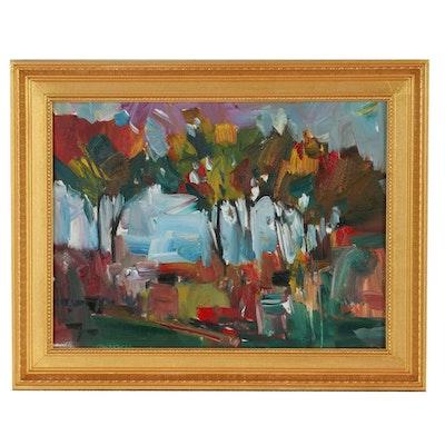 "Jose Trujillo Oil Painting ""Lovely Forest Walk"""