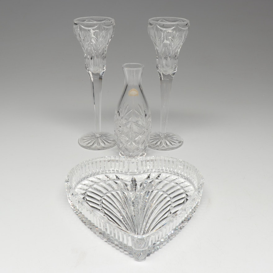 Waterford Crystal Heart Shaped Tray and Flutes with Atlantis Vase