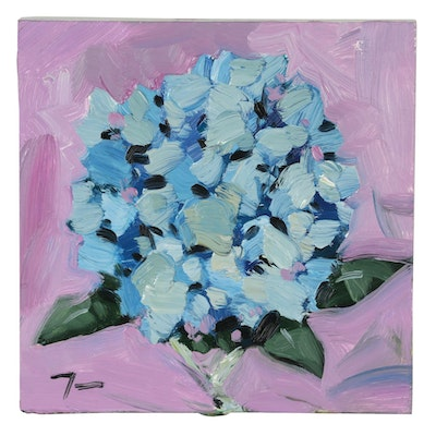 "Jose Trujillo Abstract Oil Painting ""Hydrangea"""