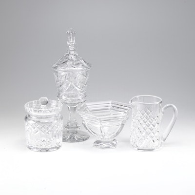 Waterford Crystal Biscuit Jar, Pitcher, Bowl and Unmarked Compote