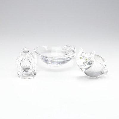 Steuben Art Glass Bowl, Cat and Crown Figures