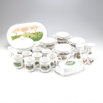 """Villeroy & Boch """"Design Naïf"""" Cheese, Bread, and Soup Service for Eight"""