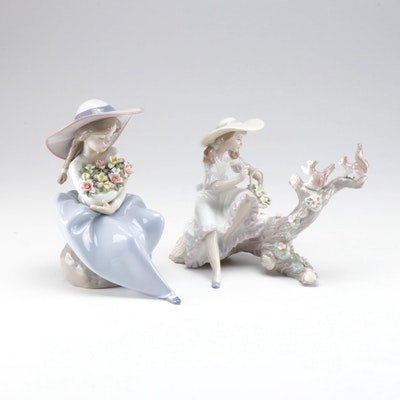 "Lladró Porcelain Figurines ""Fragrant Bouquet"" and ""Springtime Friends"""