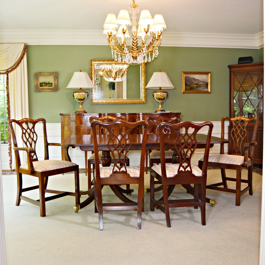 Baker Historic Charleston Dining Table with Baker Chippendale Dining Chairs