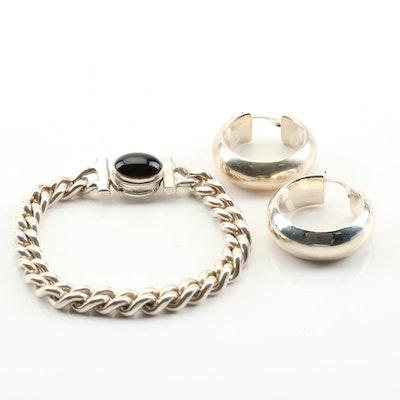 Sterling Silver Black Onyx Link Bracelet with Sterling Silver Hoop Earrings