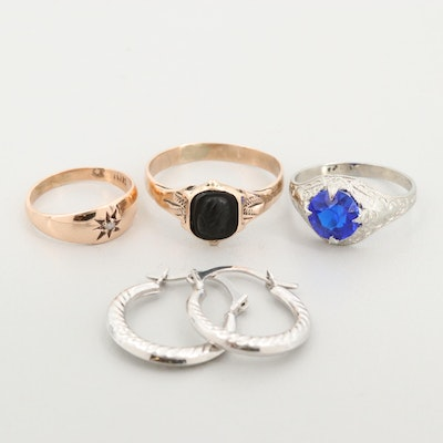 9K, 10K and 14K Earrings and Rings with Diamond, Black Onyx, and Glass