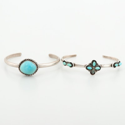 Southwestern Sterling Silver Two Turquoise Cuff Bracelets