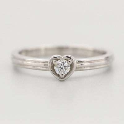 10K White Gold and Diamond Heart Ring