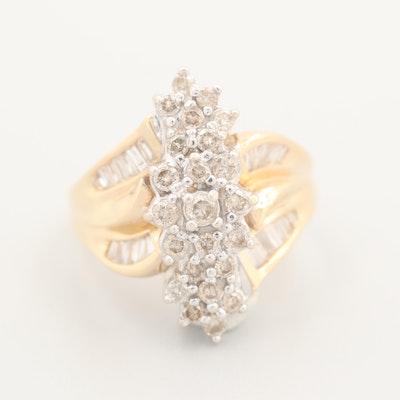 14K Yellow Gold Split Band 1.00 CTW Diamond Ring