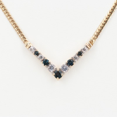 14K Yellow Gold Blue and White Sapphire Necklace