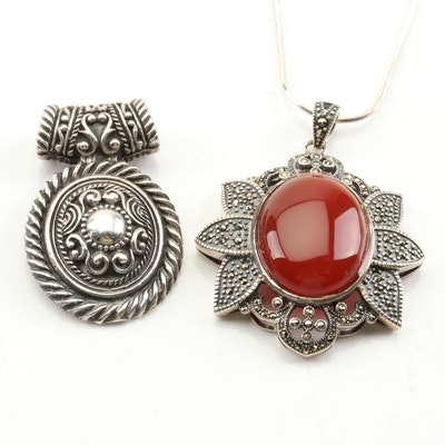 Sterling Silver Carnelian and Marcacite Flower and Scrollwork Slide Pendants