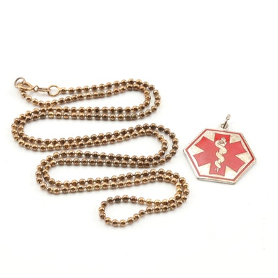 Sterling Silver Medical Alert Pendant On a Bead Chain