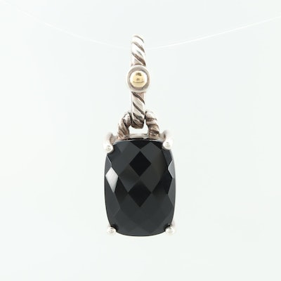 EFFY Sterling Silver Black Onyx Pendant with 18 Yellow Gold Accent
