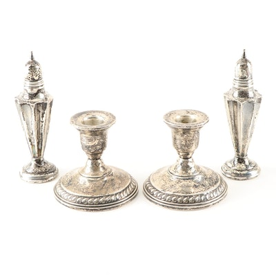 Weighted Sterling Silver Shakers and Candlesticks, Mid 20th Century