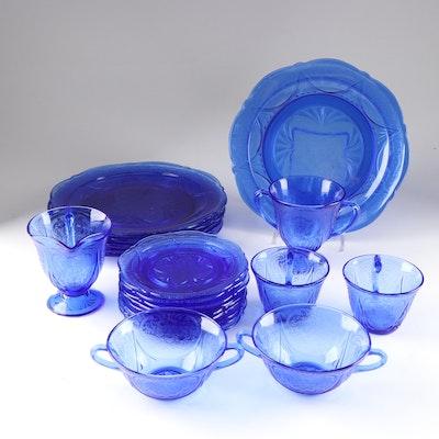 "Hazel-Atlas Cobalt Blue Glass ""Royal Lace"" Dinnerware"
