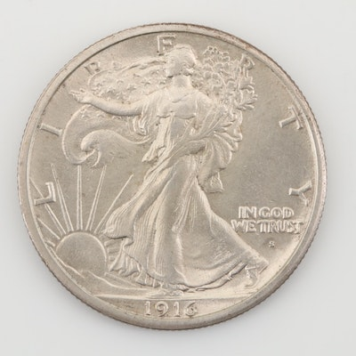 Key Date 1916-S Obverse Mint Mark Walking Liberty Silver Half Dollar