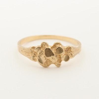 14K Yellow Gold Nugget Motif Ring