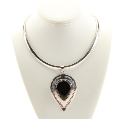 Sterling Silver Omega Necklace and Black Onyx Pendant