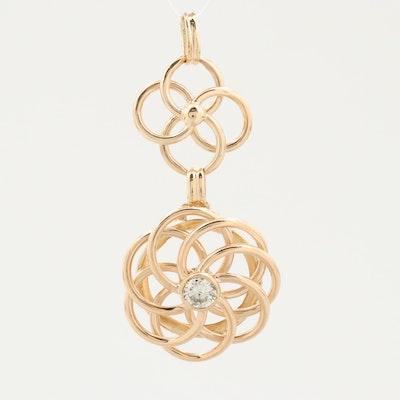 14K Yellow Gold Diamond Spiral Pendant