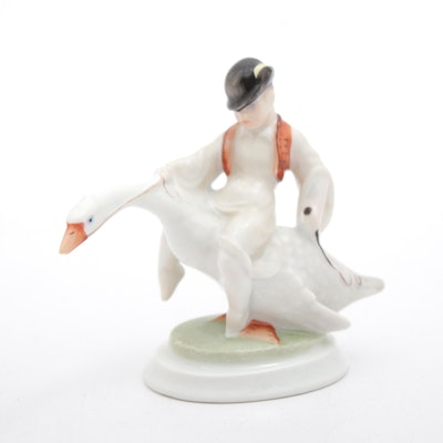 "Herend Hand-Painted ""Boy on Goose"" Porcelain Figurine"